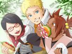 1boy 2girls akimichi_chouchou bandaged_arm black_hair blonde_hair blue_eyes brown_eyes brown_hair chopsticks eating food glasses hamburger kero_(23690272) multiple_girls naruto onigiri sandwich smile sweatdrop uchiha_sarada uzumaki_naruto whiskers