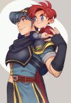 2boys armor blue_eyes blue_hair cape carrying fingerless_gloves fire_emblem fire_emblem:_fuuin_no_tsurugi fire_emblem:_monshou_no_nazo gloves male_focus marth meep multiple_boys redhead roy_(fire_emblem) smile super_smash_bros. tiara younger