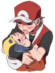 2boys badge comic from_above gold_(pokemon) male_focus multiple_boys pokemon pokemon_(game) pokemon_frlg pumpkinpan red_(pokemon) red_(pokemon)_(remake)