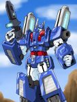 1boy 80s armor artist_request autobot blue blue_eyes blue_sky clouds day full_body glowing glowing_weapon gun highres holding holding_gun holding_weapon machine machinery mecha no_humans oldschool outdoors robot rock sky solo standing transformers ultra_magnus weapon