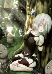1girl bare_shoulders black_panties breasts butterfly collarbone day drone highres kagami_toufu light_rays medium_breasts nier_(series) nier_automata no_blindfold outdoors panties parted_lips pod_(nier_automata) robot_joints short_hair silver_hair sitting sleeping sunbeam sunlight tree under_tree underwear wariza yorha_type_a_no._2
