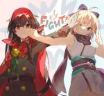 >:t 2girls :t ;d ahoge armpits artist_name bangs bare_arms bare_shoulders belt belt_buckle black_bow black_coat black_hair blonde_hair bow brown_eyes buckle buttons cape demon_archer double-breasted face_punch fate/grand_order fate_(series) gloves green_ribbon hair_bow hand_on_another's_face hand_on_another's_head hat head_tilt in_the_face japanese_clothes kimono long_hair long_sleeves looking_at_viewer multiple_girls namie-kun obi one_eye_closed open_mouth outstretched_arm punching purple_bow purple_scarf pushing_away red_cape red_eyes red_hat ribbon sakura_saber sash scarf sleeveless sleeveless_kimono smile tareme two-tone_background v very_long_hair white_bow white_gloves
