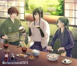 3boys black_hair bowl brown_hair character_doll chopsticks closed_eyes dango food food_request fox green_hair highres honegai ishikirimaru japanese_clothes male_focus multiple_boys nail_polish nakigitsune's_fox nikkari_aoe onigiri open_mouth ponytail rice sanshoku_dango sitting sliding_doors smile soy_sauce tarou_tachi touken_ranbu track_suit twitter_username violet_eyes wagashi yellow_eyes yellow_nails