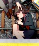 1girl black_serafuku blue_legwear blue_skirt blurry breasts brown_eyes brown_hair brown_shoes candy chair depth_of_field earphones eraser fetal_position fingernails food from_above grey_pants half-closed_eyes hand_on_another's_head highres kneehighs loafers long_hair long_sleeves lying makoji_(yomogi) medium_breasts neckerchief on_side original outdoors pants parted_lips pen pencil petting railroad_tracks red_neckerchief school_uniform serafuku shoes skirt smile solo_focus stone