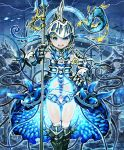 1girl :d armor armored_boots armored_dress army artist_request blonde_hair blue_eyes boots castle fish full_armor gauntlets hand_on_hip helmet holding holding_weapon lance official_art open_mouth otohimes_bodyguard polearm school_of_fish seahorse shadowverse smile underwater weapon