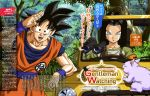 2boys absurdres android_17 animedia artist_request binoculars black_eyes black_hair blue_eyes dragon_ball dragon_ball_super highres multiple_boys official_art son_gokuu