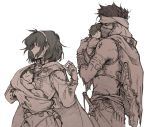 1girl 3boys armor baby cape cloak fire_emblem fire_emblem:_fuuin_no_tsurugi fire_emblem:_rekka_no_ken greyscale jaffar_(fire_emblem) knife lugh_(fire_emblem) monochrome multiple_boys nino_(fire_emblem) olee raigh_(fire_emblem) siblings simple_background twins weapon white_background
