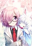1girl :o blush eyebrows_visible_through_hair fate/grand_order fate_(series) fou_(fate/grand_order) glasses hair_over_one_eye looking_at_another necktie open_mouth purple_hair red_necktie shielder_(fate/grand_order) shimesaba_kohada short_hair upper_body violet_eyes