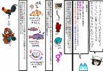bird chicken clownfish earthworm fish kaban kemono_friends long_hair lucky_beast_(kemono_friends) ninniku_(ninnniku105) rooster skirt snail tail translation_request