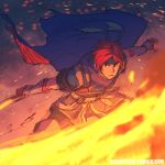 1boy armor blue_eyes caleb_thomas cape fire fire_emblem fire_emblem:_fuuin_no_tsurugi gloves headband male_focus redhead roy_(fire_emblem) sword weapon