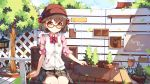 1girl arm_at_side artist_name bangs bench blue_sky blurry blush bow bowtie box brown_hair brown_skirt buttons cabbie_hat closed_mouth clouds collared_shirt commentary_request cowboy_shot dango_remi day ears_visible_through_hair emblem eyebrows_visible_through_hair falling_leaves fence flower_pot hair_bow hat lantern legs_together long_sleeves looking_at_viewer medium_skirt motion_blur original outdoors pink_shirt plaid plaid_skirt plant pocket potted_plant red_bow red_bowtie red_hat rock school_uniform shirt short_hair sitting skirt sky sleeve_cuffs sleeves_folded_up sleeves_pushed_up smile solo thick_eyebrows tree wind_chime wing_collar yellow_eyes