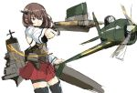 1girl aiming aircraft airplane armor artist_request bike_shorts black_legwear blush bow_(weapon) brown_eyes brown_hair closed_mouth commentary_request cowboy_shot crossbow hair_between_eyes headband headgear kantai_collection long_sleeves machinery pleated_skirt propeller rigging short_hair simple_background skirt solo taihou_(kantai_collection) thigh-highs weapon white_background