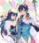 2girls 3boys animal_ears aomeeso blue_eyes blue_hair bunnysuit embarrassed fire_emblem fire_emblem:_kakusei fire_emblem_heroes frederik_(fire_emblem) krom liz_(fire_emblem) looking_at_viewer male_my_unit_(fire_emblem:_kakusei) multiple_boys multiple_girls my_unit_(fire_emblem:_kakusei) rabbit_ears smile