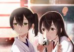 2girls akagi_(kantai_collection) blush brown_eyes brown_hair food hair_between_eyes holding holding_food japanese_clothes kaga_(kantai_collection) kantai_collection long_hair multiple_girls nontraditional_miko onigiri open_mouth side_ponytail smile sneaking tachikoma_(mousou_teikoku)