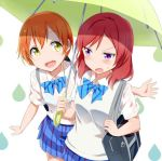 2girls :d bag bangs blue_bow blue_bowtie blue_bra blue_skirt blush bow bowtie bra breasts carrying carrying_bag collared_shirt commentary_request d:< eyebrows_visible_through_hair gochou_(atemonai_heya) green_umbrella holding holding_umbrella hoshizora_rin long_hair looking_at_another love_live! love_live!_school_idol_project medium_breasts multiple_girls nishikino_maki open_mouth orange_hair plaid plaid_skirt redhead school_bag school_uniform see-through shared_umbrella shirt short_hair short_sleeves skirt smile striped striped_bow striped_bowtie sweatdrop sweater_vest umbrella underwear upper_body violet_eyes water_drop wet wet_clothes wet_shirt white_background white_shirt wing_collar yellow_eyes