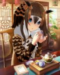 1girl animal_ears artist_request blue_eyes brown_hair chair coat commentary_request cosplay eurasian_eagle_owl_(kemono_friends) eurasian_eagle_owl_(kemono_friends)_(cosplay) flower_pot fur_collar hair_between_eyes head_wings holding idolmaster idolmaster_cinderella_girls indoors kemono_friends long_hair long_sleeves looking_at_viewer multicolored_hair photoshop plant potted_plant sagisawa_fumika sitting solo table teapot white_hair wings