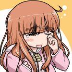 commentary_request girls_und_panzer long_hair roah rubbing_eyes sleepy takebe_saori