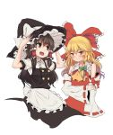 2girls :d ascot blonde_hair bow braid brown_eyes brown_hair cosplay costume_switch detached_sleeves embarrassed fuente hair_bow hair_tubes hakurei_reimu hakurei_reimu_(cosplay) hat highres kirisame_marisa kirisame_marisa_(cosplay) long_hair multiple_girls open_mouth ribbon smile touhou wavy_hair wavy_mouth witch_hat yellow_eyes