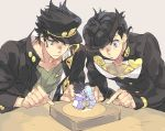 2boys anchor_symbol aqua_eyes black_hair chains crazy_diamond earrings gakuran hat heart higashikata_jousuke jewelry jojo_no_kimyou_na_bouken kuujou_joutarou male_focus multiple_boys parted_lips peace_symbol pin pompadour school_uniform star_platinum stud_earrings toujou_sakana zipper