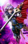 1girl blue_eyes blue_hair cape falchion_(fire_emblem) fingerless_gloves fire_emblem fire_emblem:_kakusei gloves long_hair longai lucina solo sword tiara weapon