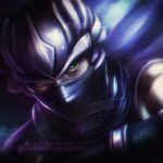 1boy alexandra_mae black_gloves blue_scarf gloves green_eyes male_focus mask ninja ninja_gaiden ryu_hayabusa scarf solo upper_body vignetting watermark web_address