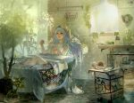 1girl aqua_hair artist_name bath bathing bathtub blue_hair book breasts bubble bubble_bath claw_foot_bathtub cleavage dahl-lange gradient_hair headphones indoors league_of_legends light_particles long_hair medium_breasts multicolored_hair nail_polish nude parted_lips plant potted_plant revision slipper_bathtub soap_bubbles solo sona_buvelle sunlight towel twintails watermark window