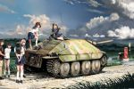 6+girls black_hair blonde_hair blue_eyes brown_eyes clouds glasses grass ground_vehicle gun gym_uniform highres jagdpanzer_38(t) machine_gun mailbox military military_vehicle motor_vehicle multiple_girls nogami_takeshi pants pink_hair red_eyes redhead school_uniform self-propelled_gun serafuku_to_juusensha shimada_kanon shirt skirt sky tank weapon y_youko_peiper