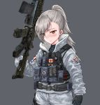1girl belt buck_(rainbow_six_siege) camouflage canadian_flag closers cosplay crossover digital_camouflage eyebrows_visible_through_hair eyes_visible_through_hair frost_(rainbow_six_siege) gloves gun hair_over_one_eye highres jacket load_bearing_vest operator ponytail pouch rainbow_six_siege red_eyes silver_hair solo ssamjang_(misosan) tactical_clothes tina_(closers) trigger_discipline upper_body weapon weapon_request