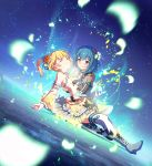 2girls battle_girl_high_school blonde_hair blue_hair carrying_under_arm closed_eyes crying flower hair_flower hair_ornament highres kougami_kanon kunieda_shiho lying multiple_girls petals short_hair spoilers thigh-highs torn_clothes transformation twintails yellow_eyes