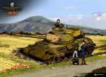 3girls black_hair brown_hair ground_vehicle gun highres machine_gun military military_vehicle motor_vehicle mountain multiple_girls nogami_takeshi official_art rice_paddy school_uniform tank type_61_(tank) wargaming_japan weapon world_of_tanks