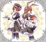 2girls animal_ears apron brown_eyes brown_hair coco_adel coffee commentary cup frilled_skirt frills iesupa maid maid_apron maid_cap maid_headdress multiple_girls rabbit_ears rwby skirt sunglasses thigh-highs tray velvet_scarlatina waitress