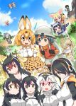 6+girls alpaca_ears alpaca_suri animal_ears animal_print aqua_eyes aqua_hair backpack bag black_eyes black_hair black_legwear blonde_hair blue_sky blush blush_stickers bow bowtie breasts brown_eyes brown_hair bucket_hat cleavage clouds coat crested_ibis_(kemono_friends) cross-laced_clothes cup day elbow_gloves emperor_penguin_(kemono_friends) eurasian_eagle_owl_(kemono_friends) eyebrows_visible_through_hair fang fennec_(kemono_friends) fox_ears fox_tail fur_collar fur_trim gentoo_penguin_(kemono_friends) gloves gradient_hair grass grey_eyes grey_hair hair_between_eyes hair_over_one_eye hands_in_pockets hat hat_feather head_wings headphones high-waist_skirt highres hood hooded_jacket hoodie humboldt_penguin_(kemono_friends) jacket kaban kemono_friends long_sleeves low_twintails mountain multicolored_hair multiple_girls nature northern_white-faced_owl_(kemono_friends) open_mouth pantyhose pantyhose_under_shorts pink_hair pleated_skirt puffy_short_sleeves puffy_sleeves raccoon_(kemono_friends) raccoon_ears raccoon_tail red_eyes red_legwear red_shirt redhead ribbon rockhopper_penguin_(kemono_friends) royal_penguin_(kemono_friends) serval_(kemono_friends) serval_ears serval_print serval_tail shirt shoebill_(kemono_friends) short_sleeves shorts skirt sky sleeveless snake_tail sweat sweater_vest tail teacup teeth thigh-highs tongue tray tsuchinoko_(kemono_friends) twintails white_hair yellow_eyes zettai_ryouiki