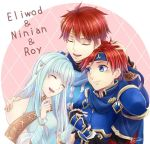 1girl 2boys :d armor bare_shoulders blue_eyes blue_hair blush character_name circlet closed_eyes closed_mouth collar couple detached_sleeves dress eliwood eliwood_(fire_emblem) embarrassed family father_and_son fingerless_gauntlets fire_emblem fire_emblem:_fuuin_no_tsurugi fire_emblem:_rekka_no_ken fire_emblem_heroes gauntlets hair_ornament hand_holding hand_on_another's_shoulder happy headband hetero highres hug husband_and_wife light_blue_hair long_hair looking_at_another mother_and_son multiple_boys ninian nintendo open_mouth pauldrons redhead round_teeth roy_(fire_emblem) short_hair smile strapless strapless_dress teeth tiara time_paradox upper_body very_long_hair