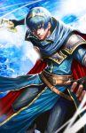 1boy armor blue_eyes blue_hair cape falchion_(fire_emblem) fingerless_gloves fire_emblem fire_emblem:_monshou_no_nazo gloves longai looking_at_viewer male_focus marth short_hair solo sword tiara weapon