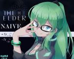 1girl adjusting_glasses aqua_eyes arm_up bangs black-framed_eyewear black_background black_jacket bracelet breasts cleavage closed_mouth collar collarbone dated destiny_(game) dollar_sign english eyebrows_visible_through_hair from_side glasses glint green_eyes green_hair hair_between_eyes hair_ornament hand_on_own_face high_collar jacket jewelry kuroda_kuwa long_hair long_sleeves looking_at_viewer looking_to_the_side neon_trim original ponytail shiny shiny_hair signature smile solo star starry_background upper_body warlock_(destiny)