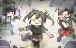 +++ 3girls :3 arare_(kantai_collection) black_hair black_legwear blush boombox bottle brown_hair chitose_(kantai_collection) closed_eyes commentary crowd dancing dated dr._slump hakama_skirt hamu_koutarou hat headband highres kantai_collection kneehighs long_hair multiple_girls muneate ponytail poop_on_a_stick ribbon sake_bottle shirt short_hair short_sleeves suspenders twintails uwu white_ribbon white_shirt zui_zui_dance zuikaku_(kantai_collection)