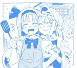 +++ 2girls ^_^ ^o^ anarogumaaa bangs blue blush cheek-to-cheek closed_eyes closed_mouth eyebrows_visible_through_hair hair_ribbon hand_on_another's_arm hand_on_hip hand_on_shoulder happy hat headband hitodama konpaku_youmu konpaku_youmu_(ghost) long_sleeves looking_at_viewer mob_cap multiple_girls open_mouth puffy_sleeves ribbon round_teeth saigyouji_yuyuko shirt short_hair short_sleeves simple_background smile spatula teeth touhou triangular_headpiece upper_body wide_sleeves