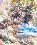 angel angel_wings armor artist_request city crystal crystal_sword fighting_stance floating_island giant heavenly_aegis multiple_wings no_humans official_art seraph shadowverse sword weapon wings