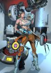 1girl aperture_science_handheld_portal_device atlas_(portal) black_hair breasts chell glados jumpsuit large_breasts midriff p-body ponytail portal portal_2 smile space_core sugiura_yoshio tank_top turret_(portal) weighted_companion_cube wheatley