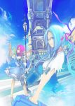 birds blue_eyes blue_hair glasses highres kentarou original pink_hair sky suitcase tower