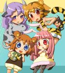 animal_ears bear_ears bell bloomers blue_eyes brown_hair bunny_ears cat_ears cat_tail collar costume cow_ears cow_girl cowgirl honey horns kuma-tan kumatanchi neko-kun orange_hair pantyhose pink_hair purple_eyes purple_hair rabbit_ears rabi-tan red_eyes tail tiger_costume tiger_print tora-oneesan ushi-oneesan violet_eyes
