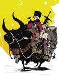 blonde_hair hirao_ryou horns new_year original ox riding