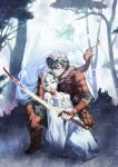 blood blue_eyes blue_hair death forest kneeling kunieda long_hair nature open_clothes open_shirt original plant shirt snow sword tree weapon