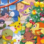 buneary chimchar christmas highres mime_jr. nintendo no_humans pachirisu pikachu piplup pokemon turtwig