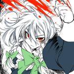 blood hairband izayoi_sakuya maid red_eyes ribbon ribbons short_hair silver_hair tajima_yuuki touhou