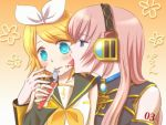 bad_id blonde_hair blue_eyes blush ebimayo food food_on_face fork hair_ribbon hair_ribbons headphones kagamine_rin licking long_hair megurine_luka multiple_girls pink_hair ribbon ribbons short_hair vocaloid yuri