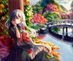 japanese_clothes kimono long_hair original river silver_hair st.microscope stm yellow_eyes
