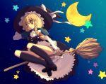 broom broom_riding brown_eyes brown_hair hat kimarin kirisame_marisa moon night sky socks star stars touhou witch_hat