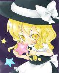blonde_hair braid chibi eyelashes hat kirisame_marisa saitou_takana star stars touhou witch_hat yellow_eyes