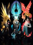 1girl 2boys amputee articuno black_background black_hair blonde_hair blue_eyes braid bubble_jett crossover edward_elric fullmetal_alchemist glaceon hair_over_one_eye highres litten long_hair military military_uniform moltres multiple_boys olivier_mira_armstrong pikachu poke_ball pokemon pokemon_(creature) ponytail prosthesis roy_mustang sword uniform weapon zapdos
